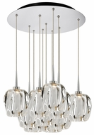 Bruck 240011CH-11-ELV-223950CH Aurora Modern Chrome / Clear LED Multi Pendant Light