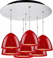 Bruck 240011CH-7-ELV-110902CH Classic Contemporary Chrome / Gypsy Red Multi Hanging Pendant Lighting