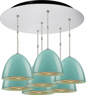 Bruck 240011CH-7-ELV-110903CH Classic Contemporary Chrome / Larkspur Blue Multi Drop Lighting