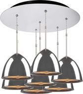 Bruck 240011CH-7-ELV-110905CH Matrix Contemporary Chrome / Smoky Metal Multi Drop Lighting