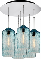 Bruck 240011CH-7-ELV-110931CH Delta Contemporary Chrome / Seafoam Multi Lighting Pendant