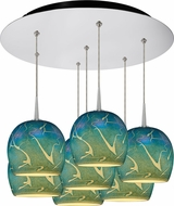 Bruck 240011CH-7-ELV-223932CH Delta Contemporary Chrome / Blue LED Multi Pendant Hanging Light