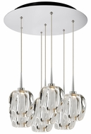 Bruck 240011CH-7-ELV-223950CH Aurora Contemporary Chrome / Clear LED Multi Pendant Lighting