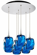 Bruck 240011CH-7-ELV-223952CH Aurora Contemporary Chrome / Blue LED Multi Hanging Pendant Lighting