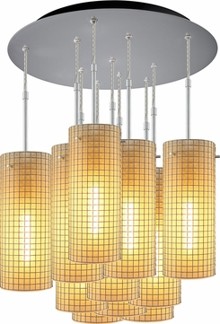 Bruck 240011MC-11-ELV-110114MC Sierra Modern Matte Chrome / Amber Multi Pendant Lighting Fixture