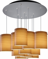 Bruck 240011MC-11-ELV-110874MC Regal Modern Matte Chrome / Brown Multi Pendant Light