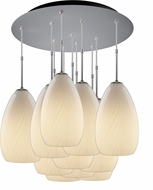 Bruck 240011MC-11-ELV-110920MC Sirena Modern Matte Chrome / White Multi Hanging Pendant Light