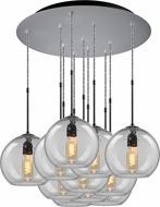 Bruck 240011MC-11-ELV-110970MC Bobo Modern Matte Chrome / Clear Multi Drop Ceiling Lighting