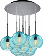 Bruck 240011MC-11-ELV-110971MC Bobo Modern Matte Chrome / Aqua Multi Drop Lighting Fixture