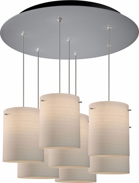 Bruck 240011MC-7-ELV-110872MC Regal Contemporary Matte Chrome / White Multi Ceiling Light Pendant