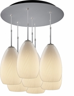 Bruck 240011MC-7-ELV-110920MC Sirena Contemporary Matte Chrome / White Multi Hanging Pendant Lighting