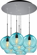 Bruck 240011MC-7-ELV-110971MC Bobo Contemporary Matte Chrome / Aqua Multi Drop Ceiling Light Fixture