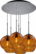 Bruck 240011MC-7-ELV-110972MC Bobo Contemporary Matte Chrome / Amber Multi Lighting Pendant