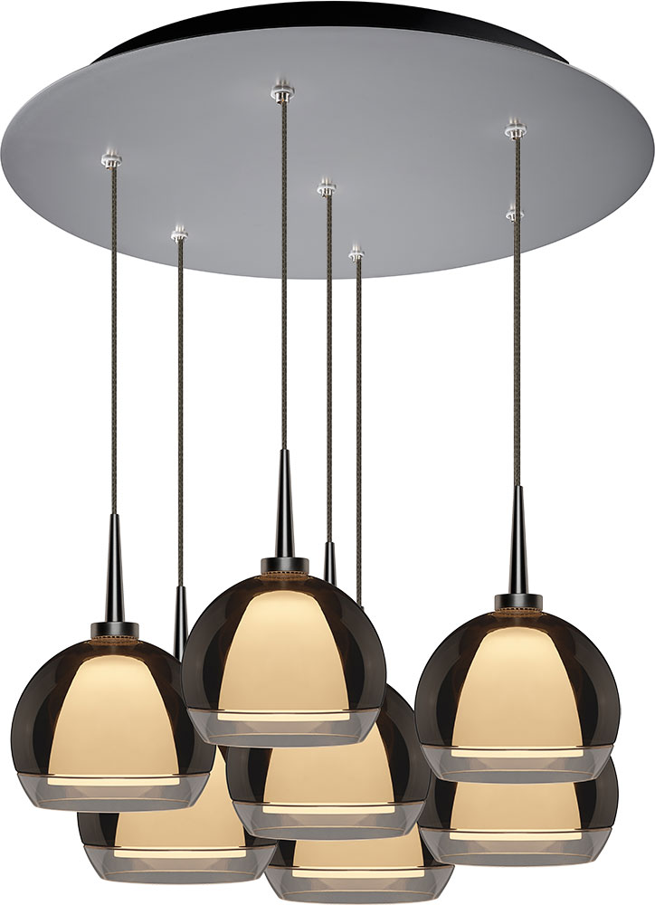 Bruck 240011mc 7 Elv 223905mc Matrix Contemporary Matte Chrome Smoky Metal Led Multi Drop Ceiling Light Fixture Bru