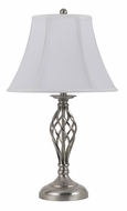 Cal BO-2253TB/2-BS Transitional 27 Inch Tall Brushed Steel Table Lamp Pair
