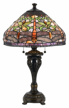 Cal BO-2355TB 26 Inch Tall Antique Bronze Tiffany Lamp With Pull Chain
