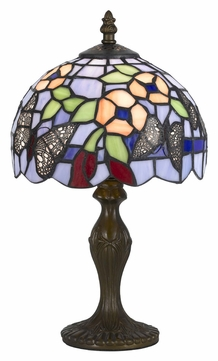 Cal BO-2378AC Tiffany Style Antique Brass Finish Accent Lamp - 14 Inches Tall