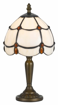 Cal BO-2384AC 13 Inch Tall Tiffany Art Glass Accent Lighting Table Lamp