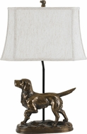 Cal BO-2661TB Golden Retriever Country Cast Bronze Side Table Lamp