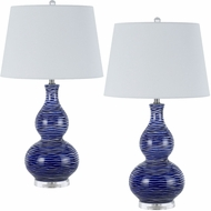 Cal BO-2724TB-2 Payson Ocean Blue Table Lamp Lighting (Set of 2)
