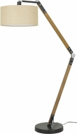 Cal BO-2756FL Freeport Matte Black / Wood Floor Lamp Light