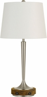 Cal BO-2778TB Chester Brushed Steel And Wood Side Table Lamp