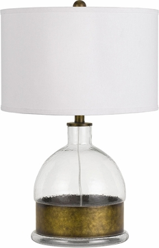 Cal BO-2809TB Rapallo Glass / Antiqued Brass Side Table Lamp