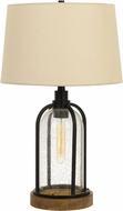 Cal BO-2840TB Ciney Black / Wood Table Top Lamp