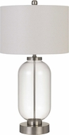 Cal BO-2905TB-BS Sycamore Contemporary Brushed Steel/Clear Glass Table Top Lamp