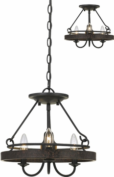 Cal FX-3518-3 Helena Texture Gray With Moroccan Bronze Pendant Lamp / Ceiling Lighting