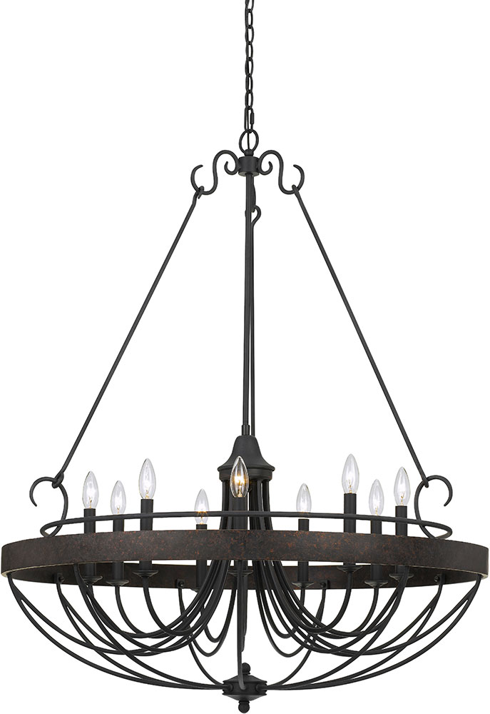 Cal Fx 3518 9 Helena Texture Gray With Moroccan Bronze Chandelier Light