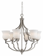 Cal FX-3531/6 Barrie Large 28 Inch Diameter 6 Lamp Brushed Steel Chandelier Lamp