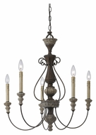 Cal FX-3535/5 Williams Small Rust Finish 5 Candle Chandelier Light Fixture - 27 Inch Diameter