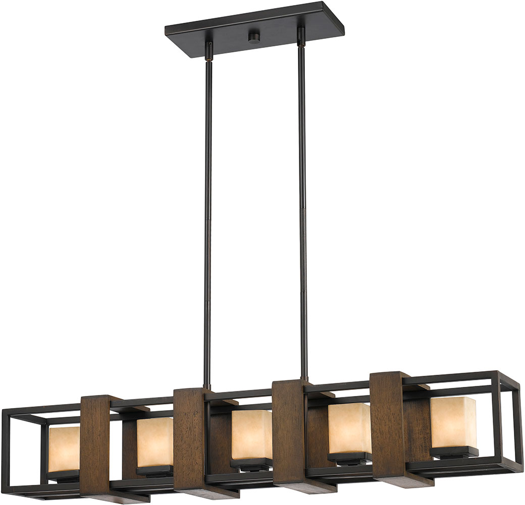 Cal Fx 3588 5 Island Modern Wood Dark Bronze Halogen Kitchen Light Fixture