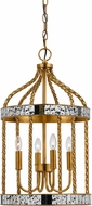 Cal FX-3599-4 Glenwood Contemporary French Gold/Antiqued Mirror Foyer Lighting Fixture
