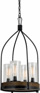 Cal FX-3614-4 Chardon Contemporary Iron / Wood Mini Hanging Chandelier