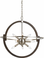 Cal FX-3621-9 Cicero Modern Brushed Steel / Wood Hanging Light