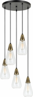 Cal FX-3623-5P Ellyn Modern Antique Brass Multi Hanging Pendant Light