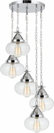 Cal FX-3624-5P Maywood Modern Chrome Multi Drop Ceiling Lighting