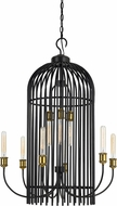 Cal FX-3626-9 Birdcage Contemporary Dark Bronze / Antique Brass Chandelier Lighting