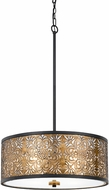 Cal FX-3649-4 Tyndall Antique Gold Drum Hanging Lamp