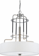 Cal FX-3652-4 Contemporary Brushed Steel Drum Hanging Pendant Lighting