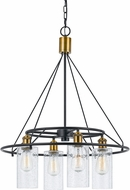 Cal FX-3653-4 Rexburg Modern Antique Brass / Black Mini Chandelier Lighting