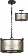 Cal FX-3660-3 Howell Modern Antique Silver / Iron Drum Drop Ceiling Light Fixture / Flush Lighting