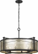 Cal FX-3660-6 Howell Contemporary Antique Silver / Iron Drum Drop Lighting Fixture