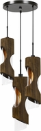Cal FX-3669-3 Zamora Contemporary Smoky Wood Multi Hanging Pendant Lighting