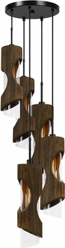 Cal FX-3669-5 Zamora Contemporary Smoky Wood Multi Pendant Hanging Light