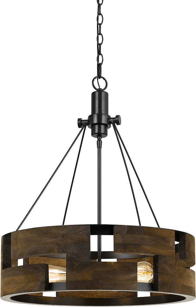 Modern Smoky Wood Drum Hanging Light