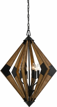 Cal FX-3679-6 Arezzo Contemporary Wood Hanging Lamp