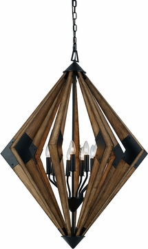 Cal FX-3679-9 Arezzo Modern Wood Hanging Light